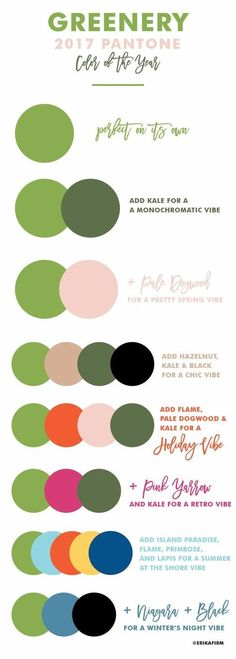 Greenery 2017 Pantone Color of the Year 2017 Color combinations by Erika Firm Color 2017, Color Of The Year 2017 Pantone, Pantone Color, 2017 Colors, Colours, Colour Schemes, Color Trends, Color Combos, Color Patterns
