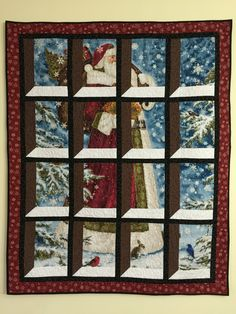 My Santa quilt I made this past summer. Inspiration came from Penny Doan's tutorial on the attic window using a deer panel. Quilting Tutorials, Quilting Projects, Quilting Designs, Quilt Block Patterns, Quilt Blocks, Ideas Paneles, Jenny Doan Tutorials, Attic Window Quilts, Panel Quilts