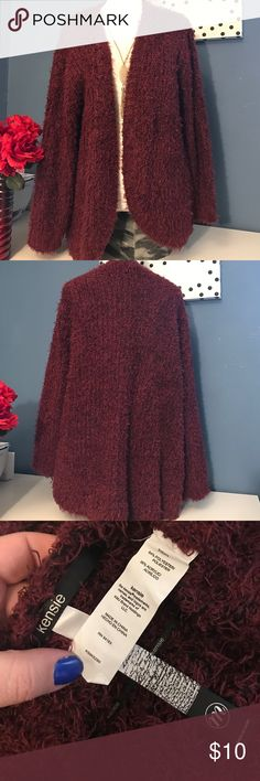 Kensie eyelash SOFT Cardigan 💥 Very soft. Wine color and black. 32 inches long no flaws ❌❌firm price❌❌💋 Kensie Sweaters Cardigans