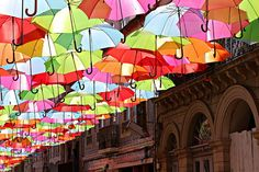 Colorful umbrellas hanging in the streets of Agueda, Portugal