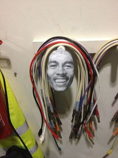 irie way to store your cables: the Bob Marley cable organizer Fotos Do Bob Marley, Cable Storage, Cord Storage, Band Rooms, Music Studio Room, Guitar Cable, Recording Studio Home, Dangerous Minds, Cable Organizer
