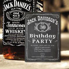 Chalkboard Adult Birthday Invitation. Vintage whiskey label birthday invite, retro surprise birthday for men. 30th birthday bash. AB14