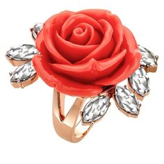 MAWI Rose Sprig Ring ($255) ❤ liked on Polyvore featuring jewelry, rings, accessories, red, red ring, mawi jewelry, leaf jewelry, mawi jewellery and rose jewelry