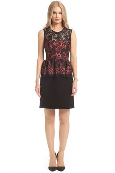 Black Lace with Coral Lining Combo Celeste Dress