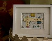 Best Teacher - Scrabble Tiles - Perfect teacher's present for end of the year