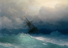 Ship on Stormy Seas. Ivan Konstantinovich Aivazovsky