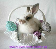 Vintage Fenton Milk Glass Hobnail Ruffled Basket - Mini-Pin Easter Eggs Sunday, March 25, 2012