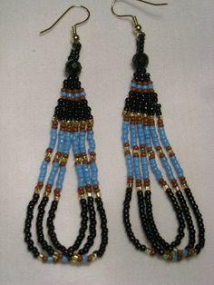 Loopy Seed Bead Earrings Black/LtBlue/Brown by KrystalHallman, $6.92