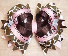 Gorgeous Boutique Custom Hair Bow in Pinks and Browns by averybows, $9.00