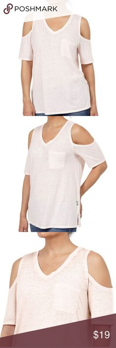 Seven7 Cold Shoulder Top, Veil rose, Small. NWT. Really cute, really comfy Seven7 Cold Shoulder Top  Size: true to size.  Item is New with tag. Features front left pocket.  Material is 56% Cotton, 44% Polyester.  Machine washer safe, lay flat to dry.* Price is firm unless you bundle!! Feel free to ask questions, I'm happy to post more pictures or details at your request.  Thanks for shopping Nellyscart! Seven7 Tops Tees - Short Sleeve