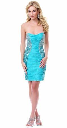 Short Sexy Stylish Mint Dress High End Lavished In Rhinestones Beads