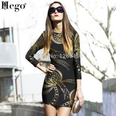 HEGO 2015 Luxury Temperament  Three Quarter Sleeve Bandage Dress Gold Foil Stamping Pencil Party Dress  Winter Dress H799