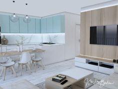 Modrá ako vítané osvieženie - Kristína Bedečová Living Room Kitchen, Kitchen Design, New Homes, Design Of Kitchen, Kitchen Living