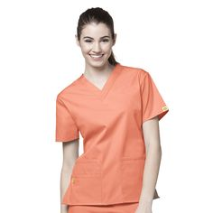 Origins by WonderWink Women's Bravo Lady Fit V-Neck Solid Scrub Top | allheart.com #scrubs #nurse #doctor #hospitalstyle #medicalstyle #orange