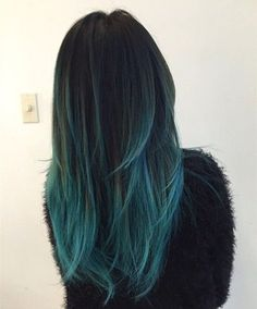 Black to teal green & blue ombre hair color with highlight~ new hair dye choice of turquoise: