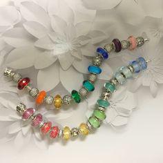 Rainbow Pandora bracelet ❤️ Never enough Marino Beads. PANDORA Jewelry… #pandorapassion