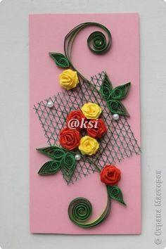 Открытка Квиллинг Баллада о розе — 4  Бисер Бумажные полосы Бусинки Сетка фото 1