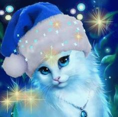 Embrace Christmas In Your Heart! Cute Animal Drawings, Animal Sketches, Cute Drawings, Cute Cats And Kittens, I Love Cats, Kittens Cutest, Cat Wallpaper, Cute Cartoon Wallpapers, Cat Colors