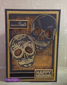 C5 card using Sheena Douglass Perfect Partners  Day of The Dead stamps, dies and embossing folders. Designed by Kelly Lloyd #crafterscompanion