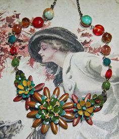 Vintage Enamel Flower Necklace  Statement Necklace  by JaelDesigns, $42.00