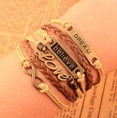 Free Shipping Charm Leather Multilayer Bracelet. #Leather #Charm Bracelets #Fashion