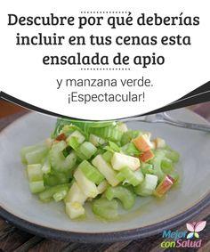 Descubre por qué deberías incluir en tus cenas esta ensalada de apio y manzana verde. ¡Espectacular! Si nunca has probado la ensalada de apio y manzana verde este es el momento. Se trata de una propuesta deliciosa y saludable que puede convertirse en un plato ideal para nuestras cenas. Healthy Salads, Healthy Tips, Healthy Recipes, Healthy Food, Good Food, Yummy Food, Appetizer Salads, Keeping Healthy, Salad Bar