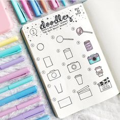 EASY, SIMPLE BULLET JOURNAL DOODLES are a great way to be creative & have fun! These cute doodle art designs are perfect for bujo inspiration of your pages. And some even feature step by step images. I love these simple planner doodle layouts! Doodle Bullet Journal, Bullet Journal Notes, Bullet Journal 2019, Bullet Journal Ideas Pages, Bullet Journal Inspiration, Doodle Inspiration, Cute Doodle Art, Doodle Art Designs, Cute Doodles