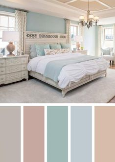I love this bedhead. Cottage Chic Suite with Icy Pastels. I love this bedhead. Cottage Chic Suite with Icy Pastels. Best Bedroom Colors, Bedroom Color Schemes, Master Bedroom Color Ideas, Room Color Ideas Bedroom, Calming Bedroom Colors, Beach Color Schemes, Bedroom Themes, Bedroom Designs, Paint Ideas For Bedroom