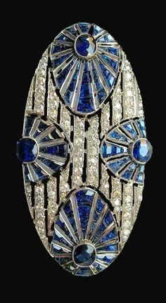 Sapphire & diamond Art Deco brooch #DiamondBrooches