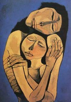 by Oswaldo Guayasamin Quito, Ecuador) or 'Mother & Child' Art And Illustration, Learn Art, Fine Art, Portrait Art, Figurative Art, Art Inspo, Painting & Drawing, Modern Art, Contemporary Art