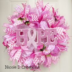 This Beautiful Breast Cancer Awareness Mesh Wreath will really stand out on your door and show everyone how you support such an important