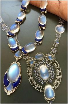 An Antique Platinum, Moonstone, Lapis Lazuli and Diamond Necklace, Tiffany & Co., designed by Louis Comfort Tiffany. Circa Listed in Sotheby's September Important Jewels Sale. Image via. Moonstone Jewelry, Diamond Pendant Necklace, Gems Jewelry, Fine Jewelry, Jewelry Box, Jewelry Accessories, Jewelry Making, Edwardian Jewelry, Antique Jewelry