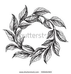 frame from the green tea leaves in graphic style, hand-drawn vector illustration.