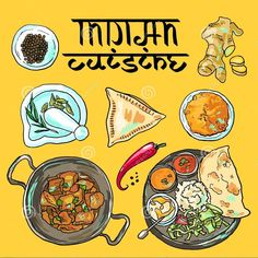 Vector indian illustration cuisine pictures in total) Indian Food Menu, Indian Food Recipes, Indian Menu Design, Italian Recipes, Vegetarian Recipes, Indian Illustration, Car Illustration, Comida India, Food Graphic Design