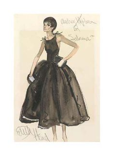 Vintage Fashion Sketches   ... Audrey Hepburn Costume Sketch now available on Vintage Seekers
