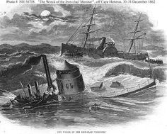 The first ironclad warship commissioned by the United States Navy, the USS Monitor foundered in the water off Cape Hatteras December 1862 Uss Monitor, American Civil War, American History, Military Honors, Military Men, Military History, North Carolina History, Virginia, Cape Hatteras Lighthouse