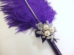 Feather Pen, Large Purple Ostrich feather Pen with Pearl brooch / Wedding Signing Pen / Guest Book Pen / Wedding Reception Accessories