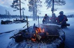 Lunch at open fire   Winter Tours to Finland