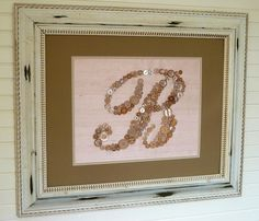 Button Monogram  ReadytoFrame 11x14  Your by letterperfectdesigns