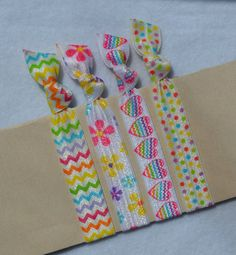 Color Confetti  Hair Ties by ShillysFrillies on Etsy, $4.35