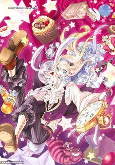 Anime girl, , anime boy, , Alice in Wonderland, , Alice, , Rabbit, , bunny ears, , cakes, , candy, , watch
