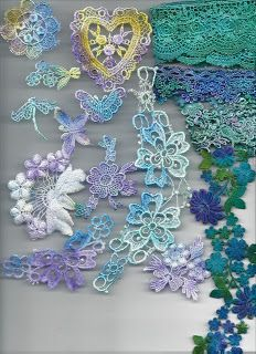 Pretty Painted Pieces!   (using Dye-Na-Flow) -  use old doilies & lace, salvaged appliques from thrift store clothing, your own crochet, etc. Lovely little accents for almost anything!