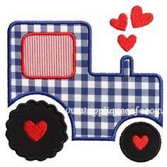 Valentine Tractor Applique Design