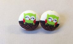 3/4 Size 30 Green/Red/Black/Brown Owl in Nest Fabric by RatDogInk, $7.00