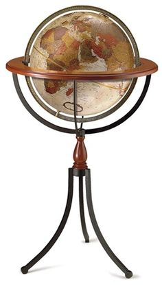 $440 The Santa Fe 16-inch Bronze Metallic Raised Relief Floor Standing World Globe by Replogle is truly a unique and one of a kind piece. With a total height of 39 inches, the cherry finished wood and wrought iron mixed stand and antique mapping make it a stunning presentation.