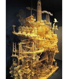Insólita escultura fabricada con 103.987 palillos mondadientes, para la que se necesitaron 36 años