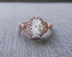 "Estate Halo Moissanite Diamond Antique Engagement Ring Victorian Art Deco Heart Edwardian 14K Rose Gold ""The Caroline "" by PenelliBelle on Etsy https://www.etsy.com/listing/458129216/estate-halo-moissanite-diamond-antique"