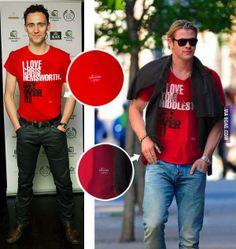 Bromance between Tom Hiddleston and Chris Hemsworth