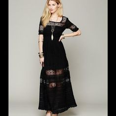 Free People Black Mix In Crochet Maxi Dress
