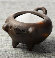 Pomaireware Salt Pig from the town of Pomaire, Chile